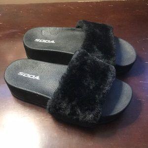 Soda fuzzy platform slide sandals
